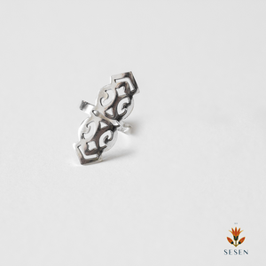 Sterling Silver Long Vintage Armour Design Ring