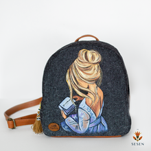 Load image into Gallery viewer, grey printed canvas backpack