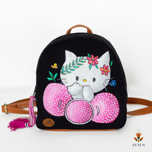 Load image into Gallery viewer, black canvas kitty print backpack