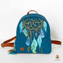 Load image into Gallery viewer, blue dream catcher backpack