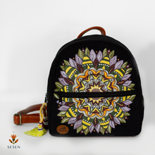 Load image into Gallery viewer, black mandala backpack