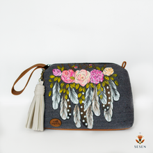 Load image into Gallery viewer, Dream Catcher with Flowers Print Grey Canvas Clutch - By Simplicity