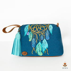 Dream Catcher Blue Canvas Clutch - By Simplicity