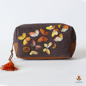 Colourful Butterflies Print Brown Canvas  Small Clutch - By Simplicity