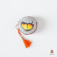 Load image into Gallery viewer, Orange Butterfly Hand Painted Zipper Coin Purse - By Simplicity
