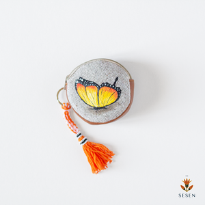 Orange Butterfly Hand Painted Zipper Coin Purse - By Simplicity