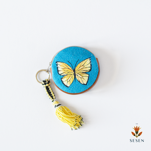 Yellow Butterfly On Blue Canvas Hand Painted Zipper Coin Purse - By Simplicity