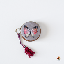 Load image into Gallery viewer, Hues of Red and Black Butterfly Hand Painted Zipper Coin Purse - By Simplicity