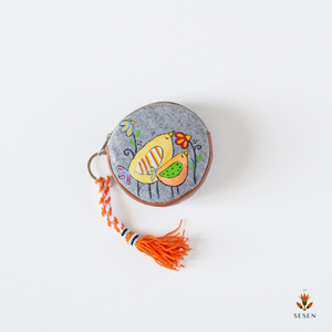 Orange Robin Bird Hand Painted Zipper Coin Purse - By Simplicity