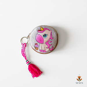 Pink Unicorn on Grey Canvas Hand Painted Zipper Coin Purse - By Simplicity