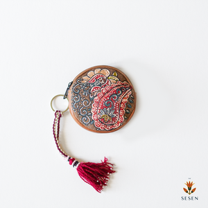 Deep Red Ethnic Print Zipper Coin Purse - By Simplicity