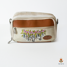 Load image into Gallery viewer, Grey-White Dream Catcher Feather Print Canvas Makeup Pouch - By Simplicity