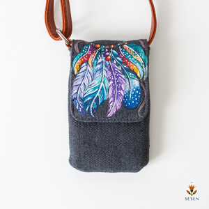 Multicolour Dream Catcher Print On Grey Canvas Phone Crossbody Bag - By Simplicity