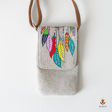 Load image into Gallery viewer, Multicolour Leaf Print Phone Crossbody Bag