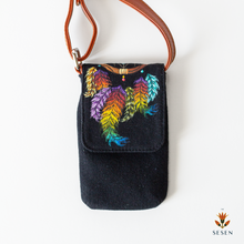 Load image into Gallery viewer, Multicolour Dream Catcher Print On Black Canvas Phone Crossbody Bag