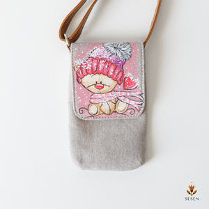 Snowy Teddy Bear Phone Crossbody Bag