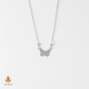 Sterling Silver Butterfly Cut Out Pendant With Chain-Small