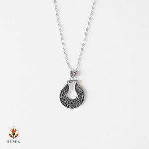 Sterling Silver Indian Surya Hoop Pendant With Chain