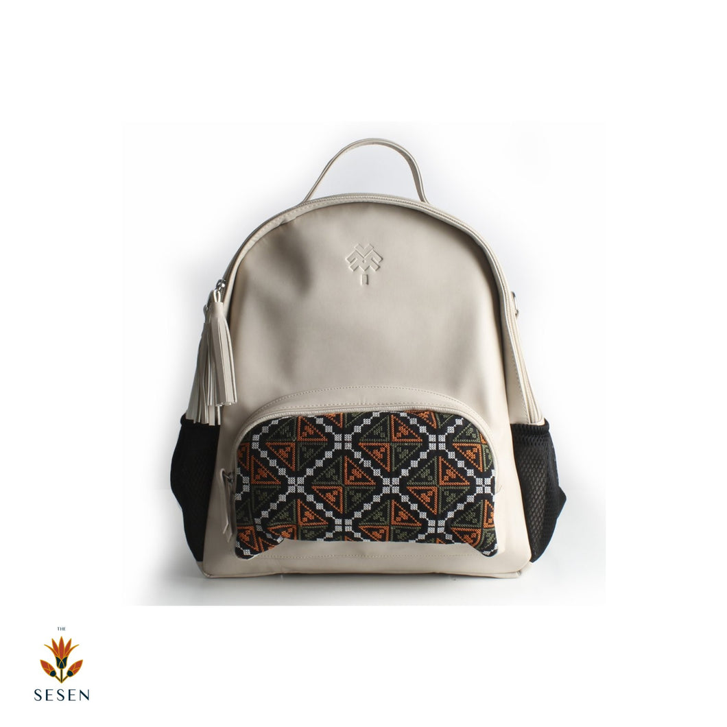 Faux leather beige Diaper backpack | The Sesen