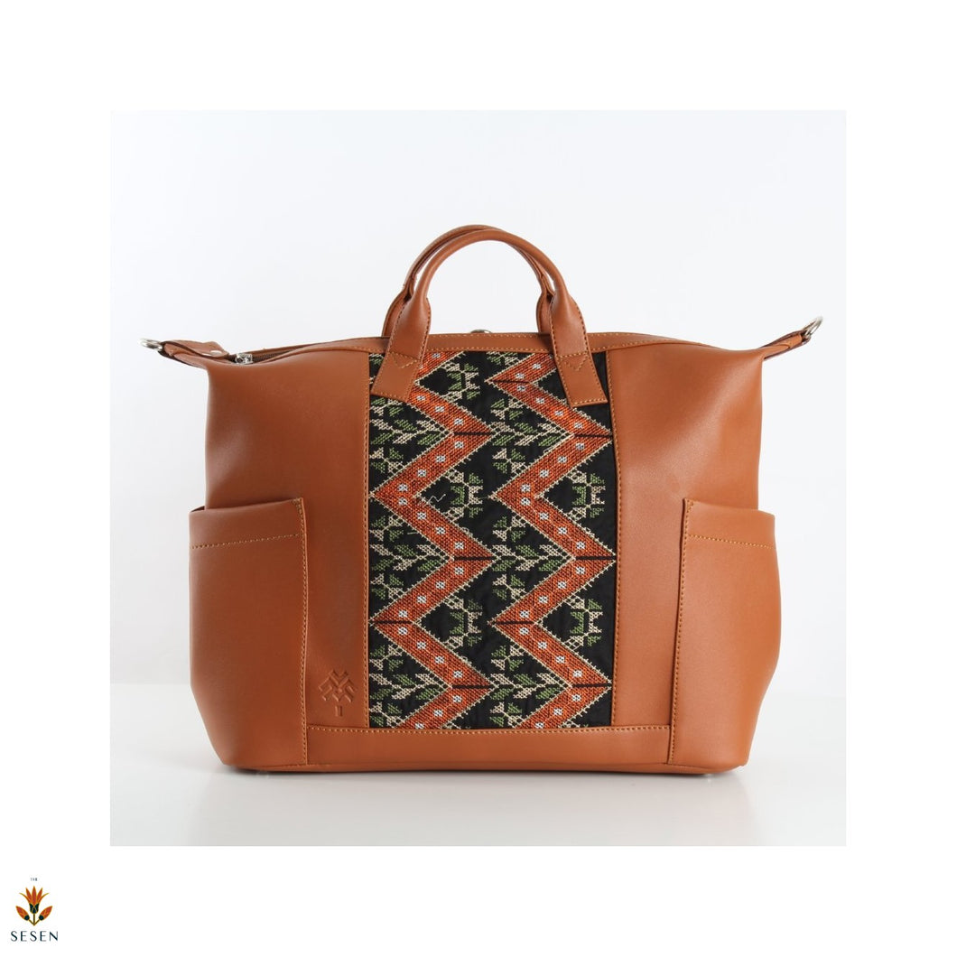 African Print Brown Faux Leather Weekender Bag-By Palma