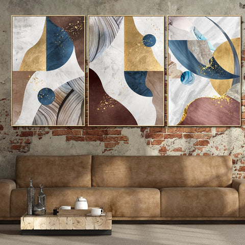 Abstract Shapes Patterned Framed Canvas Wall Art