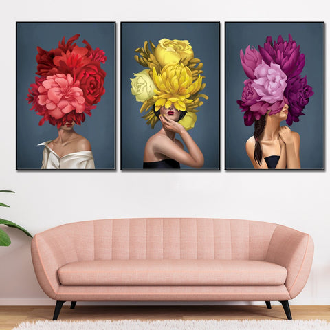 The Floral Ladies Framed Canvas Print - Multicolour