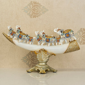 The Jaipur Royal Elephant Family Table Decoration Showpiece