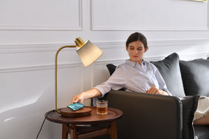The French Burgundy Desk and Side Table Wireless Charging Lamp