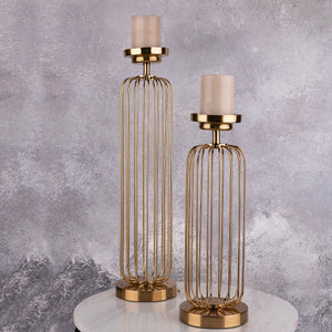 The Golden Piped Candle Stand - Pair