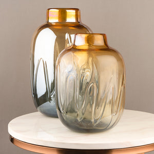 The Autumn Country Jar Handblown Glass Decorative Vase - Pair