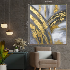 Line on the Palm 100% Hand Painted Wall Painting (With Outer Floater Frame)