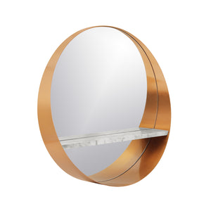 Stainless Steel Golden Crescent Slab Decorative Wall Mirror