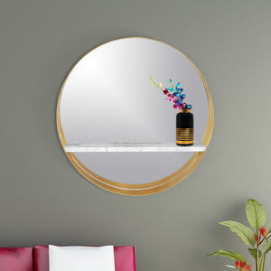 Stainless Steel Golden Crescent Slab Decorative Vanity Wall Mirror