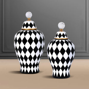 The London Checker Board Ceramic Decorative Vase - Set of 2