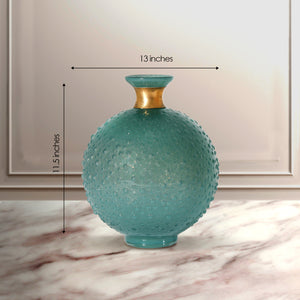 The Celestial Drop Handblown Glass Decorative Vase - Green