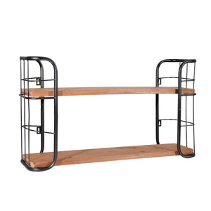 2 - Tier Wooden and Metal Wall Shelf