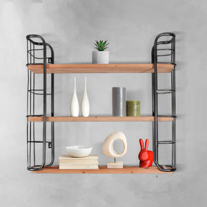 3 - Tier Wooden and Metal Wall Shelf
