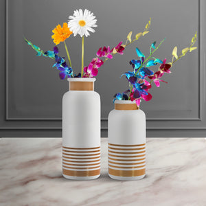The Golden Glory Ceramic Decorative Vase - Set of Two - White