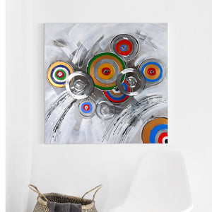 The Circle of Life 100% Hand Painted Wall Painting with Metal