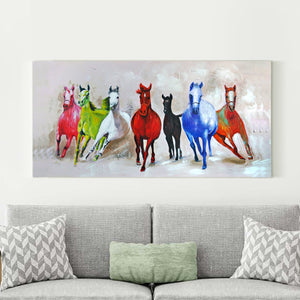 Seven Running Horses 100% Hand Painted Wall Painting