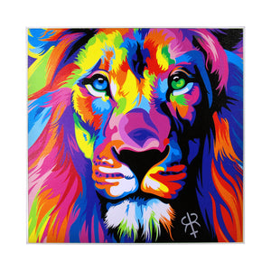 Ecstasy Lion Framed Canvas Print