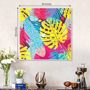 A symphony of Leaves Yellow Framed Canvas Print