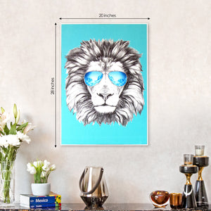 The Party Lion Framed Canvas Print