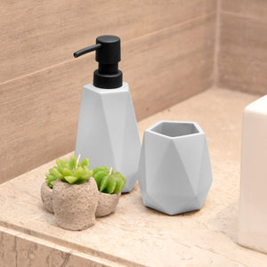 Concrete Diamond Cut Soap Dispenser and Toothbrush Holder