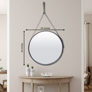 The Leather Belt Decorative Wall Mirror - Black
