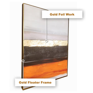 The Abstract Planet Layers Modern Art 100% Hand Painted Wall Painting (With Outer Floater frame)