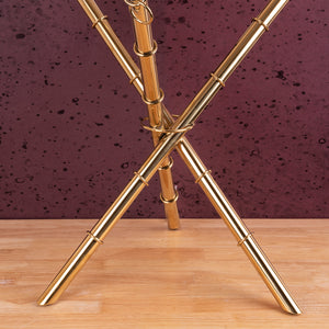 The Golden Ribbed Criss Cross Accent Table (Stainless Steel)