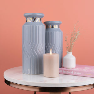 The Casablanca Chevron Decorative Ceramic Vase Set of 2- Grey
