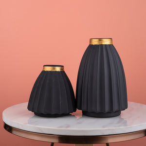 The Black and Gold Ripple Ceramic Decorative Vase - Pair