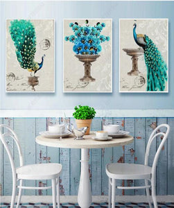 3 Panel Royal Peacock Framed Canvas Print
